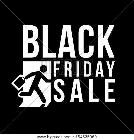 Black Friday sale logo Man runs to shop