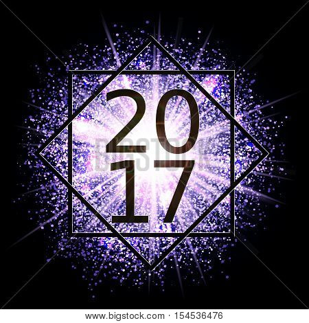 Happy New Year 2017 in the frame. Date is on the background of the explosion glowing clouds of gas and dust. Fireworks on dark background. Festive Collection. Abstract vector element for web design