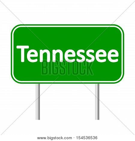 Tennessee green road sign isolated on white background