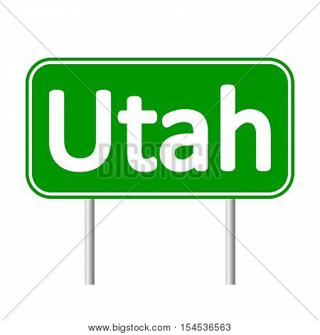 Utah green road sign isolated on white background
