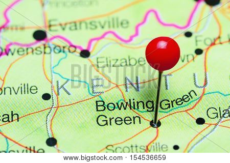 Bowling Green pinned on a map of Kentucky, USA