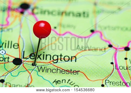 Winchester pinned on a map of Kentucky, USA