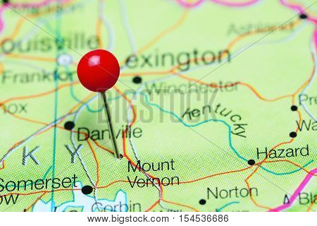Mount Vernon pinned on a map of Kentucky, USA