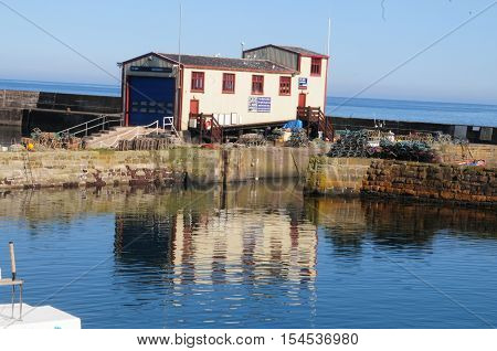 The lifeboat house at Saint Abbs harbor