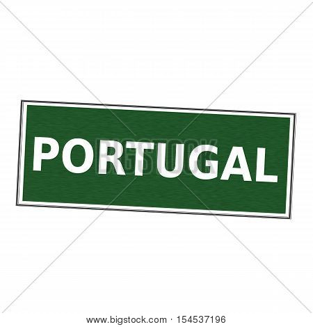 PORTUGAL white wording on picture frame Green background
