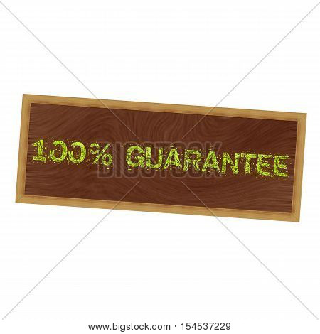 100% guarantee yellow wording on picture frame wood brown background