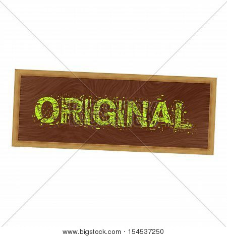 original yellow wording on picture frame wood brown background