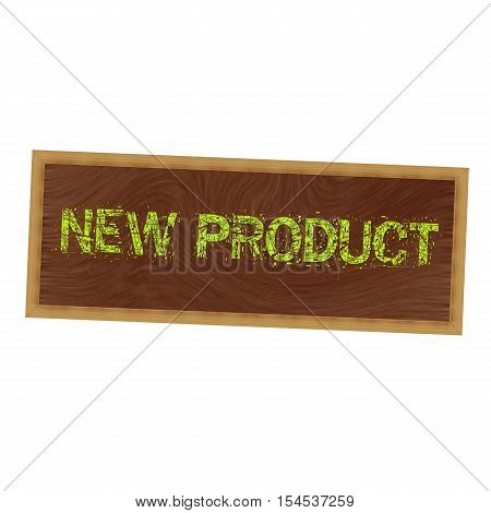 New product yellow wording on picture frame wood brown background