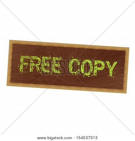 Free copy yellow wording on picture frame wood brown background