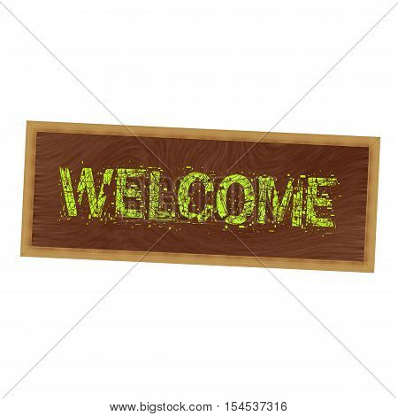 Welcome yellow wording on picture frame wood brown background