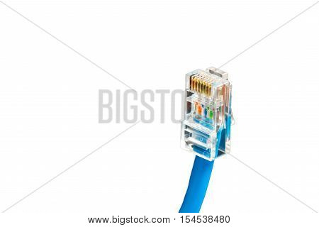 Blue computer network ethernet cable isolated on white background closeup