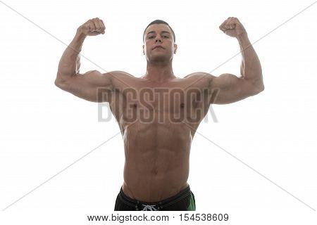 Healthy Man With Six Pack Over White Background