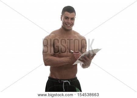 Personal Trainer With Clipboards Over White Background