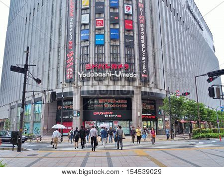 Osaka, Japan - June 07, 2016: Yodobashi-Umeda at Umeda station in Osaka, Japan. Yodobashi store is a chain of large camera stores that also sell an extensive range of home electronics and computers.