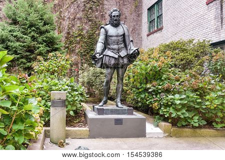 New York City - October 31, 2016: Miguel de Cervantes Statue in Willy's Garden near New York University in the Greenwich Village neighborhood of Manhattan New York City.