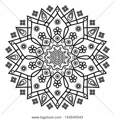 Foral mandala ornament. Coloring book pages print.
