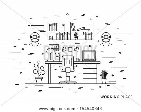 Linear flat interior design illustration of modern designer working place interior space with flowers shelves table laptop lamps chair. Outline vector concept of working place interior.