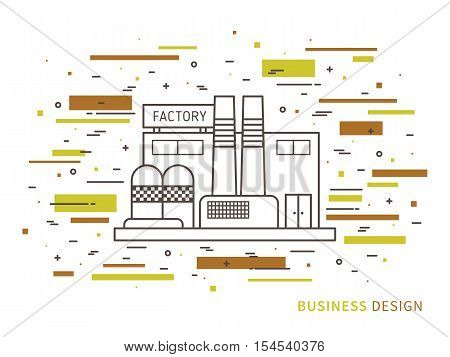 Linear flat exterior design illustration of factory. Outline vector graphic concept of factory exterior design.