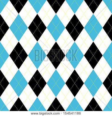 Seamless argyle pattern in blue, black and white with yellow stitch.