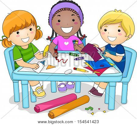 Illustration of a Diverse Group of Preschool Kids Working on an Arts and Crafts Project Together