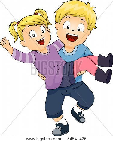 Illustration of a Cute Little Boy Carrying His Little Sister on His Arms