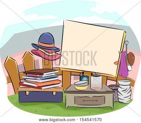 Yard Sale Illustration Featuring a Large Wooden Board Surrounded by Used Items For Sale