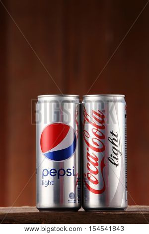 Kuala Lumpur, Malaysia 31th Oct 2016,pepsi and colca cola light on the wooden background