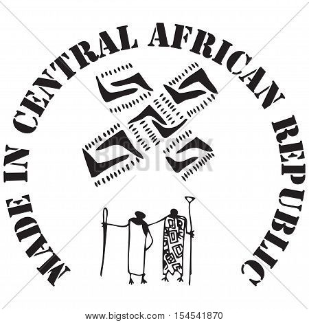 Made in Central African Republic - the stamp imprint for products made in the Central African Republic.