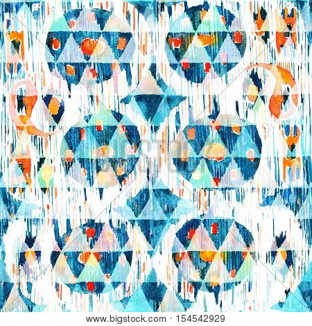 Ikat seamless bohemian ethnic pattern in watercolour style. Watercolor ikat oriental ornaments.
