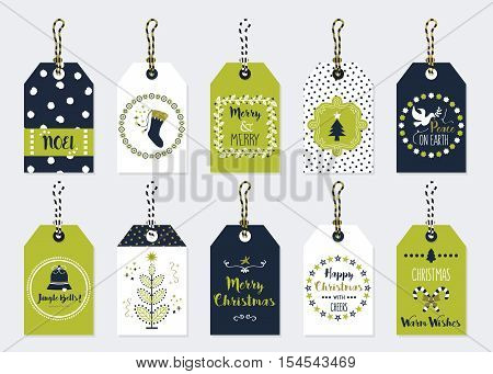 Green and dark navy blue Christmas and Holiday gift tags set on trendy gray background