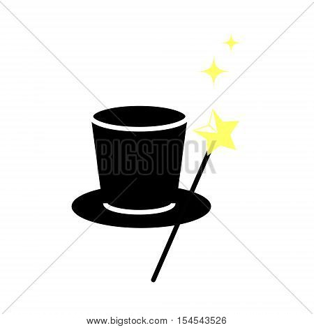Magic hat with magic wand. Icon vector