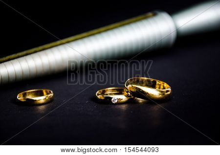 gold ring with bleary Measuring device for finger ring Template for jewelers