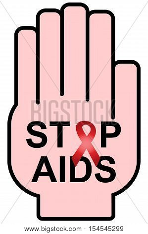 Stop AIDS symbol to 1 December World AIDS day. Vector illustration