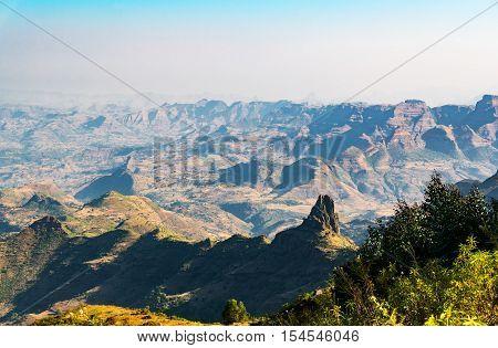 Ethiopia Kosoye view on the Semien mountains