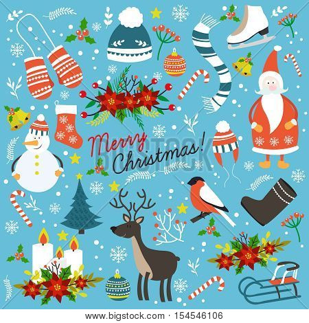 Christmas hand drawn elements with santa claus snowman winter clothes decorations on blue background isolated vector illustration