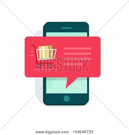 Notification on mobile phone vector illustration, concept of new online order message on smartphone, ecommerce sale push notification isolated on white background flat style