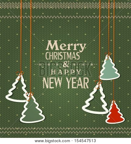 Vector background for Christmas and New Year. Christmas trees hanging on the background of knitted fabric