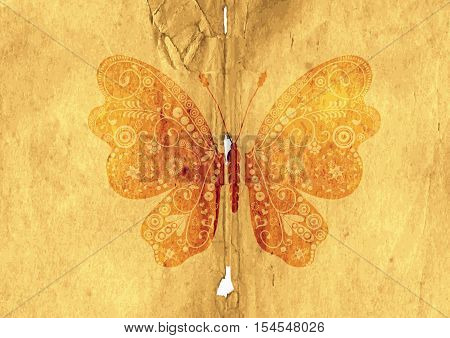 Tattered old paper page with vintage butterfly (vector eps 10)