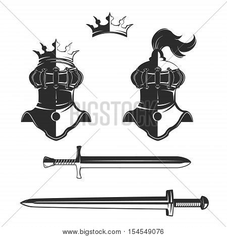 Knight's helmet with crown isolated on white background. Knight's swords. Design elements for logo, label, emblem, sign, brand mark. Vector illustration