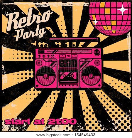 Retro party poster template with boombox on grunge background. Design elements for poster, flyer. Vector illustration.