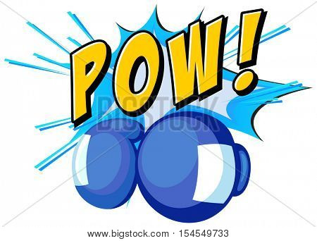 Boxing gloves and word pow on white background illustration