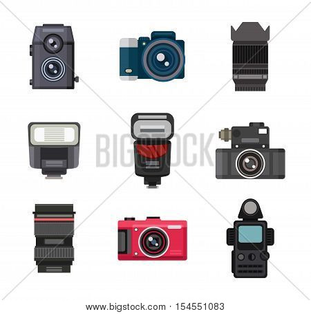 Photography icons vector set creative design pictures in flat style. Photo studio icons digital, equipment, set. Vector lens light film tripod isolated collection photo studio icons.