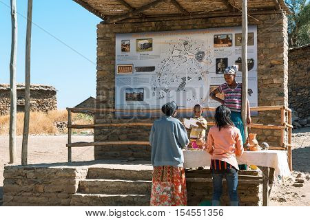Yeha Ethiopia - January 21 2016: Local people and craft at the entrance of the touristic area