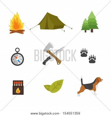 Set of vintage hunting symbols. Set of hunting and camping objects vector design elements vintage cartoon style. Deer head, hunter weapons, forest wild animals and other hunting symbols isolated.