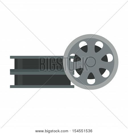 Film cinema technology vector. Twisted movie film strip with round box. Cinema film roll vector illustration.