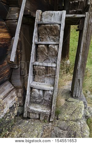 Setesdal, Norway, September 8, 2016 Old homemade stairs from the 16th century at Rygnestadtunet in the Setesdal, Norway, September 8, 2016