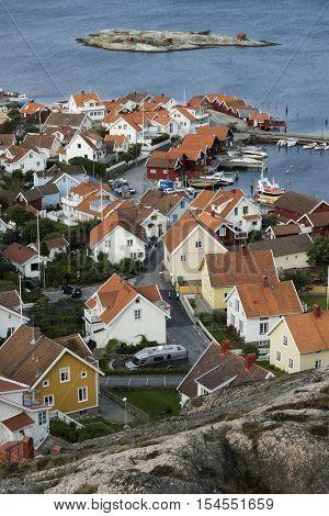 Fjallbacka, Sweden, September 16, 2016 View over the village Fjallbacka from the kungsklyftan,  Fjallbacka, Sweden, September 16, 2016