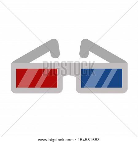 3d cinema movie glasses on white background. Vector illustration of cinema glasses. Vector movie glasses silhouette isolated