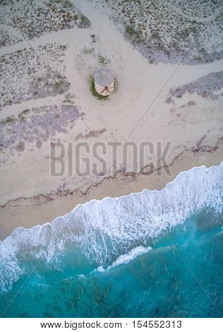 Drone view of Old windmill ai Gyra beach, Lefkada Greece