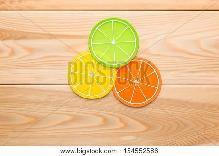 Coasters Design For The Cup In The Form Of Orange Slices